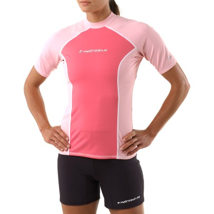 Surf The NRS HydroSilk rashguard is the perfect choice for water adventures. Smooth HydroSilk(TM) nylon/spandex fabric provides UPF 50+ sun protection. Brushed interior is cozy against your skin, wicks moisture and dries quickly. Flat-stitched seams minimize chafing. Closeout. - $16.83