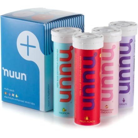Camp and Hike This mixed 4-pack of NUUN Active hydration tablets contains fruity flavors that are loaded with electrolytes, vitamins and minerals to help you stay properly hydrated throughout the day! - $14.93