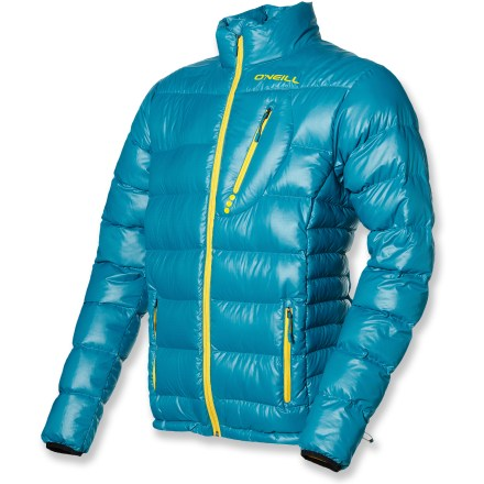 Snowboard Pack it in; wear it out. This O'Neill Jones packable down jacket brings warm smiles to cold powder days. Recycled polyester shell fabric and slick nylon lining envelop naturally warm, naturally lightweight goose down insulation. Insulated with quality 700-fill-power goose down for warmth, light weight and compressibility. Full-length front zipper features an internal draft flap to prevent cold air from seeping through. Zippered pockets warm hands and store small items. Adjustable hem blocks out cold air while retaining valuable warmth. O'Neil Jones down jacket is packable, stuffing into its own pocket for easy stash-and-go. Wear jacket alone on bluebird days or as a mid layer when the temp drops. - $109.83