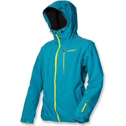Snowboard Keep the cold and wet at bay as you explore a winter wonderland in the big mountain O'Neill Jones 2-Layer snow jacket. Recycled polyester fabric features 4-way stretch so you can flex and stretch in all of your wintery pursuits. 2-layer shell fabric features a waterproof, breathable laminate that is bonded to outer material. Fully taped seams create the ultimate seal against wind and snow. Deep pit zips dump heat fast while hiking pipes and kickers. Stretch waist gaiter prevents spindrift from creeping under jacket in deep powder conditions; coordinating pants affix via jacket-to-pants interface (pants sold separately). Ample storage: zippered chest pocket, internal audio pocket, internal miscellany stash pocket and a goggles pocket; also features a wrist accessory zip pocket. 2 external zip pockets are laminated and welded for waterproof protection. O'Neill Jones 2-Layer shell jacket has a fully adjustable hood, ensuring a weather-blocking, personalized fit. Soft, comfortable chin guard protects you from zipper abrasion; small perforations in chin guard allows air to pass through, reducing foggy goggles. Articulated sleeves are designed to move with the body, increasing comfort and range of motion. Cinch adjustable hem and rip-and-stick wrist cuffs help seal out cold air while retaining valuable warmth. - $127.83