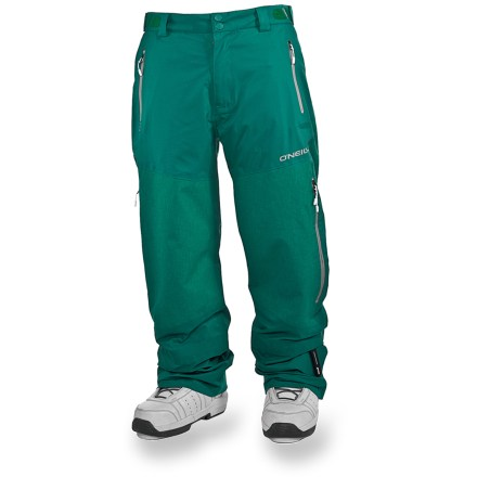 Snowboard The O'Neill Jones 3-Layer snow pants stand up to the rigors of big mountain riding, keeping the cold and wet at bay as you explore a winter wonderland. Embedded RECCO(R) reflector enhances radio signals from search-and-rescue RECCO detectors for quicker acquisition of position in an avalanche. 100% recycled ripstop polyester pants feature 4-way stretch so you can flex and stretch in all of your wintery pursuits. 3-layer pants features a waterproof, breathable laminate that is bonded between outer material and inner lining. Fully taped seams create the ultimate seal against wind and snow. Zippered mesh-lined inner thigh vents keep you dry and comfortable whether you're hiking the pipe or riding the lift. Rip-and-stick waist adjustment tabs personalize the fit; soft microfleece waistband lining lets you ride with your shirt untucked with no worries about chafing. Coordinating O'Neill jacket affixes via jacket-to-pants interface hooks (sold separately). Articulated knees allow comfortable range of motion with no tugging. Stretch boot gaiters with lace hooks help prevent snow from getting into boots, even in deep powder. Storage galore: zippered front handwarmer pockets, back pockets and side cargo pockets; zippered pockets are laminated and welded for waterproof protection. O'Neill Jones 3-Layer pants have a 2-button fly and zipper closure. Zippers in hems make getting your boots on and off easy, and add a relaxed look and feel. Relaxed fit provides easy movement that maximizes comfort without compromising your look. - $150.83
