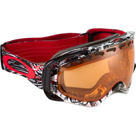 Ski Ready to crank up the speed and let yourself go in the steep and deep? The Oakley Crowbar(R) Seth Morrison ski goggles will take you there in style. Urethane frame construction stays flexible, even in extreme cold. High-quality optics deliver a wide field of vision and enhance clarity at all angles of view. Dual vented lens design, vents below lenses and antifog treatment work together to fight fogging. Triple-layer polar fleece face foam provides comfort and wicks moisture at skin-contact areas. Built-in outriggers balance and distribute the frame pressure whether you're wearing a helmet or not. Persimmon lens enhances detail and increases contrast in flat, overcast light, allowing 62% visible light transmission. Fits medium and large faces; helmet compatible. - $71.83