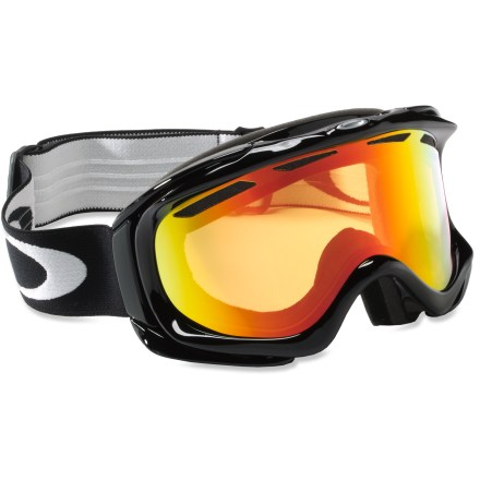Ski With an adaptive fit, these Oakley Ambush snow goggles ensure comfort aplenty as you take to the mountains and carve turns till your heart's content. Low-profile urethane frame stays flexible, even in extreme cold, and adapts to your face for added comfort. Dual-vented lens design and antifog treatment work together to fight fogging. Triple-layer face foam is topped with fleece to provide comfort and wick moisture away at contact areas. Adjustable strap is anchored to outriggers to balance and distribute pressure evenly whether you're wearing a helmet or not. Spherical Fire Iridium lens enhances visual acuity in medium to bright light, and mirror coating tunes contrast and reduces glare; allows 16% visible light transmission. Oakley Ambush snow goggles fit small to medium faces. - $100.00