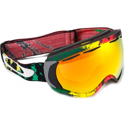 Ski Oakley Canopy Tanner Hall snow goggles feature Rasta-inspired graphics and oversize optics for expanded peripheral views when you're shredding slopes. Low-profile urethane frame stays flexible, even in extreme cold; area around nose has been optimized for easy breathing and comfort. Oversize, high-quality optics deliver a wide field of vision and enhance clarity at all angles of view. Dual-vented lens design and antifog treatment work together to fight fogging. Triple-layer face foam is topped with fleece to provide comfort and wick moisture away at contact areas. Wide adjustable strap is backed with silicone grippers for a secure fit; strap anchor plates balance and distribute pressure evenly whether you're wearing a helmet or not. Spherical Fire Iridium lens enhances visual acuity in medium to bright light, and mirror coating tunes contrast and reduces glare; allows 16% visible light transmission. Oakley Canopy Tanner Hall snow goggles fit medium and large faces. - $135.93