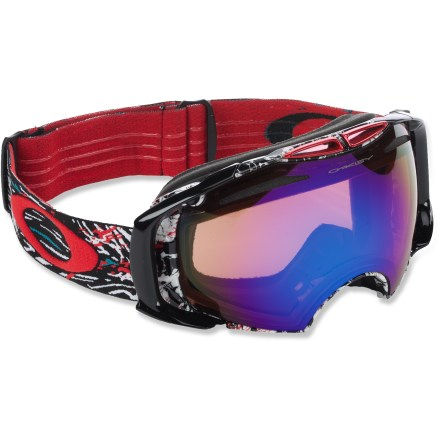 Ski Oakley Airbrake Seth Morrison snow goggles boast a fast lens interchange system that lets you adapt your optics to changing mountain conditions. Switchlock lens interchange system makes it easy to swap lenses-simply unlock the pivot switch on the side of goggles, switch out the lens and then lock down the switch. Rigid outer frame minimizes lens flex and optical distortion, eliminates nasal pressure and maximizes airflow; flexible urethane chassis stays flexible, even in extreme cold. Oversize, high-quality spherical lenses deliver a wide field of vision and enhance clarity at all angles of view. Dual-vented lens design and antifog treatment work together to fight fogging. Triple-layer face foam is topped with fleece to provide comfort and wick moisture away at contact areas. Adjustable strap is backed with grippers for a secure fit; strap is anchored to outriggers to balance and distribute pressure evenly whether you're wearing a helmet or not. Blue Iridium lens enhances contrast in medium to bright light, and mirror coating further tunes contrast and reduces glare; allows 30% visible light transmission (VLT). H.I. Persimmon lens (included) uses an orange tint and mirror to filter out blue light, boosting contrast and depth perception in flat to low light; allows 63% VLT. Oakley Airbrake Seth Morrison snow goggles fit medium and large faces. - $199.93