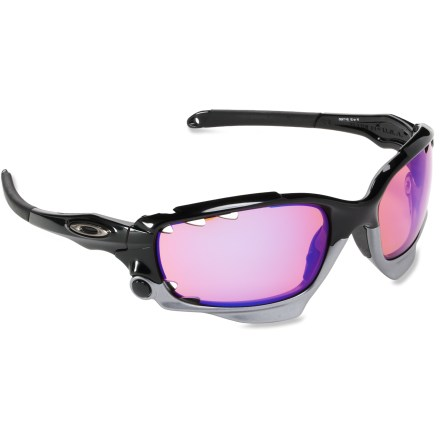 Camp and Hike Slip on the Oakley Racing Jacket interchangeable sunglasses for life in the sunny fast lane. Each frame includes 2 sets of lenses: 1 set for the bright lights, 1 set for after hours. - $220.00
