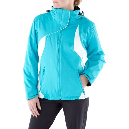 Ski Coziness abounds in the Obermeyer St. Tropez insulated jacket, with serious insulation for women who want to stay warm when they're out and about on the mountain. Polyester shell fabric is finished with a waterproof, breathable coating for weather protection; critical seams are sealed for reinforcement. 100g ComforMax(R) polyester body insulation hoards warmth on the inside; 80g in sleeves. Windproof construction keeps the elements at bay. Removable hood adjusts with drawcord and comes off when you don't need it. Integrated powder skirt is fully adjustable and polyurethane-coated for a durable shield against cold air and snow entry. Interior hem drawcord and adjustable cuff tabs customize the fit and keep cold air out. Articulated sleeves encourage natural fit and full range of motion. Fleece-lined cuffs, collar and chin protector enhance comfort; hand pockets are tricot-lined for keeping digits cozy in cold weather. Interior storage includes zippered window pocket and mesh goggles pocket. Obermeyer St. Tropez jacket features a mid-length design and relaxed fit. - $107.83