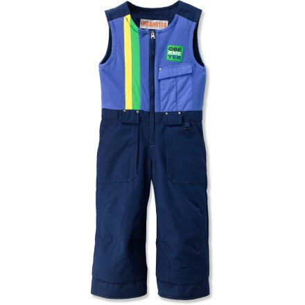 Ski The Obermeyer Chill Factor insulated bib pants swaddle wee ones in waterproof warmth, helping them stay comfortable and dry while on the slopes. Polyester shell with HydroBlock(R) waterproof, breathable coating and sealed seams offers super protection. Permaloft(R) polyester insulation is soft and flexible, combining reliable warmth and nonbinding freedom of movement. Half-zip front and elastic waist with drawcord create a comfortable, secure fit. Smooth nylon taffeta lining slides on easily over layers. I-Grow(TM) technology lets you lengthen cuffs up to 2 in. as child grows. Water-resistant powder cuffs have gripper elastic bottoms to keep snow and grit out; reinforced, articulated knees offer ease of movement and durability. The Obermeyer Chill Factor insulated bib pants feature open-bottom cuffs that fit easily over boots. - $68.93