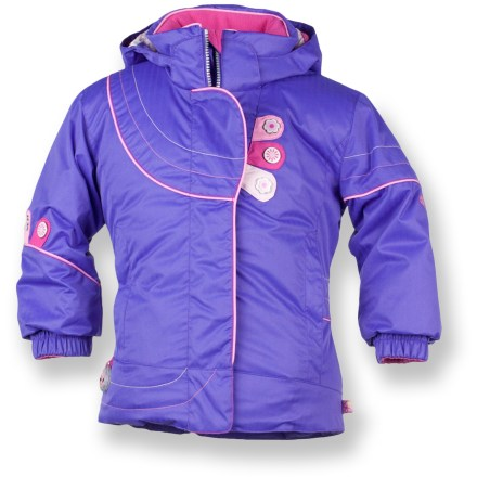 Ski The toddlers' Obermeyer Karma insulated jacket offers cute, full-featured protection for your snow angel while she plays on the slopes. Partially recycled polyester shell fabric with a waterproof and breathable coating offers super protection. Nylon taffeta lining slides easily over clothing for layering without binding. Polyester insulation provides lightweight, non-bulky warmth for all-day comfort. Fleece-lined collar and chin guard prevent chafing of tender skin; removable insulated hood adjusts to fit securely and keep heat loss to a minimum. Adjustable cuffs with rip-and-stick closures and adjustable hem/waist drawcords seal out cold air. I-Grow(TM) system lets you lengthen sleeves up to 1.5 in. as child grows. Tricot-lined, zippered handwarmer pockets and an interior stash pocket. Attached, working compass points her in the right direction. Obermeyer Karma jacket features reinforced stitching for enhanced durability. - $63.83