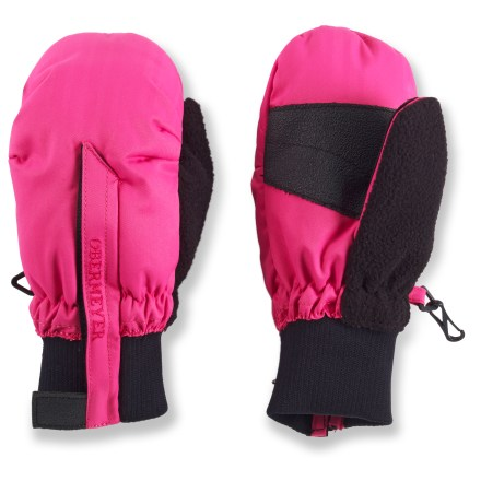 The toddlers' Obermeyer Thumbs Up mittens for girls fit the bill when cold weather requires warm handwear. Tough polyester shells and HydroBlock(R) waterproof breathable inserts offer serious protection from the elements. Permaloft(R) polyester fibers offers lofty, warm insulation. Rib-knit cuffs help seal in warmth and keep out elements; full-length zippers make it easy to get little fingers in and out. - $12.93