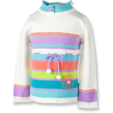 Sweet as can be, the Obermeyer Sugar sweater sandwiches your girl in snuggly warmth. Beautiful blend of cotton and acrylic makes this sweater exceptionally soft and warm. Cute stitching, yarn drawcord tie and button detailing at mock collar. Rib-knit hem and cuffs. Closeout. - $19.73