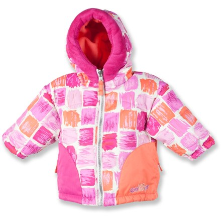 This Obermeyer Belle insulated jacket, featuring the I-Grow(TM) system, will make her feel like she's the belle of the ball-the''snowball,'' that is. I-Grow system lets you lengthen sleeves up to 1.5 in. as your child grows. Partially recycled, windproof polyester has a HydroBlock(R) waterproof, breathable coating for dependable protection from the elements. Permaloft(R) polyester insulation provides lightweight warmth. Quilted nylon lining slides easily over layers and dries quickly. Insulated hood with fuzzy fleece trim supplies on-demand protection from the cold. Zippered, tricot-lined handwarmer pockets; interior stow pocket stores small items. Elastic hem and sleeve cuffs seal out snow and retain heat. Obermeyer Belle jacket is machine washable for easy care. Closeout. - $14.73
