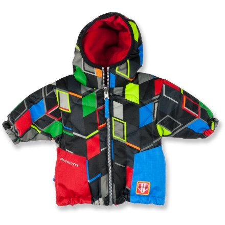 This adorable, dapper Obermeyer Sam insulated jacket will have everyone fawning over your little boy. Windproof polyester shell sports a HydroBlock(R) waterproof, breathable coating to keep the elements out. Quilted nylon lining with Permaloft(R) synthetic insulation throughout body, sleeves and hood keeps him cozy. Elastic hem and cuffs seal warmth in. Obermeyer Sam jacket features a fleece-lined hood. Tricot-lined hand pockets. Closeout. - $26.73