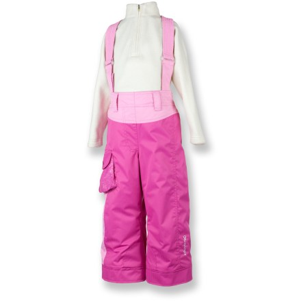 Ski The Obermeyer Utopia suspender pants clothe snow-happy girls in waterproof and breathable warmth, helping keep them comfortable and dry while on the slopes. I-Grow design lets you lengthen cuffs up to 2 in. as child grows. Partially recycled polyester shell with HydroBlock(R) waterproof, breathable coating and sealed seams offers super protection. Polyester insulation is soft and flexible, combining reliable warmth and nonbinding freedom of movement. Fleece-lined, elastic waist with adjustable tabs and suspenders creates a comfortable, secure fit. Smooth nylon taffeta lining slides on easily over layers. Reinforced knees and seat offer durability; a stylish cargo pocket stores small essentials. The Obermeyer Utopia Suspender pants feature water-resistant powder cuffs with gripping elastic bottoms that help keep snow and grit out. - $43.83