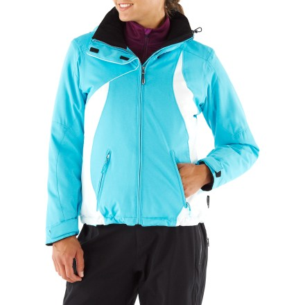 Snowboard Coziness abounds in the Obermeyer St. Tropez jacket, with ample insulation for women who want to stay warm when they're out and about on the mountain. Windproof polyester shell has a waterproof, breathable coating for weather protection; critical seams are sealed for reinforcement. 100g ComforMax(R) polyester body insulation hoards warmth on the inside; 80g in sleeves. Removable hood adjusts with drawcord. Adjustable, polyurethane-coated powder skirt shields against cold air and snow. Interior hem drawcord and adjustable cuff tabs customize the fit. Articulated sleeves encourage full range of motion. Fleece-lined cuffs, collar and chin protector enhance comfort; hand pockets are tricot-lined for keeping digits cozy in cold weather. Interior zippered window pocket and mesh goggles pocket. Obermeyer St. Tropez jacket features a mid-length design and relaxed fit. Closeout. - $89.93