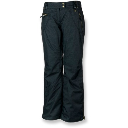Ski Bring the comfort of your favorite jeans to the slopes! The Obermeyer Delia insulated pants handle demanding conditions with their waterproof construction and snow-blocking protection. Polyester shell features HydroBlock(R) V waterproof, breathable coating; critical seams are taped for a boost in weather protection. Permaloft(R) midweight insulation is soft and flexible for great freedom of movement, plus it retains its warmth even when wet. High-rise back with denim-style seams and pockets features a slender fit through the legs and a hip overall look. Rear pockets, tricot-lined handwarmer pockets and zippered front pockets stash small essentials. Reinforced hems and scuff guards boost durability in areas most vulnerable to moisture and overall wear. Inner thigh vents offer on-the-fly cooling. Articulated knees allow comfortable range of motion with no tugging. Water-resistant powder cuffs with gripper elastic keep snow out of boots. Rounding out the features, Obermeyer Delia pants feature belt loops and a ski pass/ticket ring to provides easy access to lift pass. - $118.93