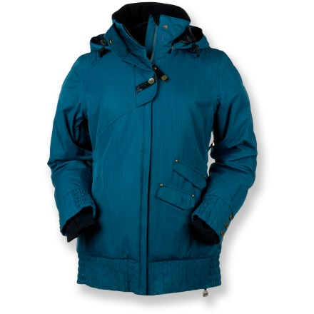 Ski Fashionistas will rejoice at the Obermeyer Eden insulated jacket! Under the stylish pinstripe fabric facade lies a cozy performance piece for both on the mountain and apres-ski. Polyester shell with HydroBlock(R)V waterproof, breathable coating supplies refuge from wind and snow; critical seams sealed for added weather protection. 80g ComforMax(R) polyester fiber insulation provides a high level of warmth with minimal weight. Polyester lining absorbs excess moisture, dries quickly, eases layering and adds warmth. Removable, adjustable hood; roomy, fleece-lined collar for added warmth. Stretch inner cuffs with thumbholes add warmth and an extra barrier against snow entry. Integrated, adjustable powder skirt keeps you dry by sealing out the spindrift. Top half of jacket features an external stormflap with snap closure to lock out windchill. Zippered, tricot-lined handwarmer pockets, interior goggles and electronic pockets, and a lip balm pocket provide storage; detachable, scratch-free goggles cloth and key ring. Pit zippers let you quickly and easily control core temperature, expelling excess body heat as needed during high activity. Obermeyer Eden jacket fits long and is slightly shaped for a sleek, tailored look. - $174.93
