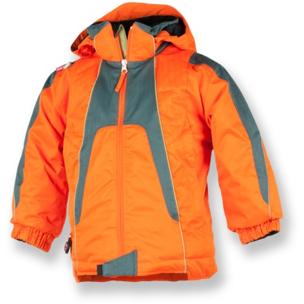 Snowboard The toddlers' Obermeyer Downhill insulated jacket will help keep your young powder seeker snug and dry while he's racing down a hill or building a snowman. I-Grow system lets you lengthen sleeves up to 1.5 in. as your child grows. Polyester shell with HydroBlock(R) waterproof breathable coating protects him from the wind and snow. Permaloft(R) polyester insulation provides lightweight, non-bulky warmth for all-day comfort. Hood is adjustable for enhanced protection; fleece ear warmers inside hood add comfort. Fleece-lined collar, chin guard and cuffs prevent chafing of tender skin. Zippered handwarmer pockets warm up chilly fingers. Features internal stow pocket, stowable clips for gloves, and a working compass. The Obermeyer Downhill insulated jacket features reinforced stitching and heavy-duty zippers for great durability. - $63.83
