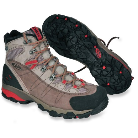 Camp and Hike The Oboz Wind River hiking boots offer waterproof, breathable protection and solid support in a lightweight, nimble package to carry you through the miles. Rugged nubuck leather uppers feature breathable nylon mesh panels for a comfortable fit right out of the box; rubber toe randing protects against abrasion. B-DRY(TM) waterproof, breathable membranes keep the elements out so your feet stay comfortable. Nylon mesh linings wick moisture, dry quickly and enhance breathability. Dual-density EVA midsoles provide cushioning over a long day of hiking; polyurethane heel pods soak up impact forces, further improving comfort. Nylon shanks offer torsional stability and protection underfoot, increasing surefootedness on varied terrain. Injection molded heel counters lock feet in to deliver technical yet nimble performance. High-friction, nonmarking rubber outsoles grip both wet and dry surfaces with ease. - $91.83