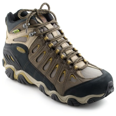 Camp and Hike Oboz Sawtooth BDry mid-height hiking boots are lightweight, waterproof and well-suited for light hiking in all seasons and conditions. - $145.00