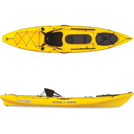 Kayak and Canoe Perfect for the solo paddler with fish on the brain, the Prowler 11T(TM) Angler sit-on-top kayak helps you get away from the shoulder-to-shoulder crowd on shore. Durable linear polyethylene construction with molded-in graphics delivers years of faithful service and easy maintenance. 11 ft. hull is stable and maneuverable, and it tracks well in the water despite its short length. Skid plate at rear of kayak increases durability. Adjustable, padded foam seat makes the long hours searching for the big one a bit more comfortable. Large cockpit area with adjustable footbraces and molded-in foot wells provide ample paddling comfort. 17.25 x 10.5 in. center hatch stores extra gear away from splashes; open the hatch with an easy-to-use buckle and strap system. Inside the hatch, you'll find a storage bag designed for batteries and other small items. Sonar Shield(TM) cover offers a protected area to mount and store your fish finder (fish finder not included); cover also protects contents against sun and spray. Rod Pod(TM) storage area provides easy access to spare fishing rods while you're paddling. 2 rod holders behind the seat offer an out-of-the-way, paddle-friendly position to store fishing rods. Aft tank well is large enough to hold live bait wells and tackle boxes. Includes self-bailing scupper holes, paddle keepers, cup holder, drain plug, reflective rigging, toggled bow and stern carry handles and side-mounted carry handles. Prowler 11T Angler uses 6 Scupper Stoppers (sold separately): 2 small scuppers in the foot wells, 2 medium scuppers in the seat area and 2 medium scuppers in the tank well. - $899.00