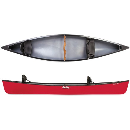 Kayak and Canoe Affordable and fun, the Old Town Guide 147 Canoe is just the boat you need to finally explore that picturesque waterway you've recently noticed-gear up and explore! A wide beam provides extra stability, making this recreational canoe ideal for photography, fishing or family paddling. Slightly arched bottom provides stability when paddling in waves; stabilizing chines increase security for beginning paddlers. Sharp entry and exit lines allows canoe to glide efficiently with less paddling effort. 3-layer polyethylene offers excellent stiffness, high durability and light weight at an affordable price. Center yoke thwart offers manageable solo portaging while polyethylene decks with molded handles facilitate 2-person transport. Stout ash thwart and vinyl-wrapped gunwales enhance rigidity. Molded seats with supportive backrests provide daylong paddling comfort. - $550.93