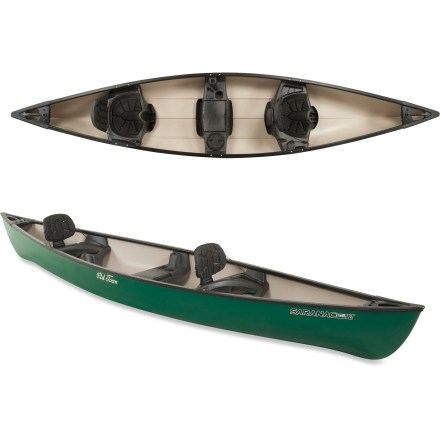 Kayak and Canoe Garnished with a few little extras, the Old Town Saranac 146 XT green canoe offers a fun and friendly way to navigate that picturesque waterway you've recently noticed-gear up and explore! Additional width boosts your stability, making this recreational canoe ideal for photography, fishing or family paddling. Flat bottom provides excellent initial stability; straight sides increase security for beginning paddlers. Moderate rocker offers a good balance between manueverability and tracking. Thermoformed polyethylene offers excellent stiffness, high durability and light weight at an affordable price. Center bench seat features storage area, a cup holder, a 6 in. dry hatch and a molded-in rod holder. The Saranac 146 XT canoe features padded seats and backrests. Molded seats provide daylong paddling comfort and feature paddle rests, cup holders and storage trays. Molded handles at bow and stern facilitate 2-person transport, and molded-in flush mount at bow accommodates a rod holder, not included. - $579.00