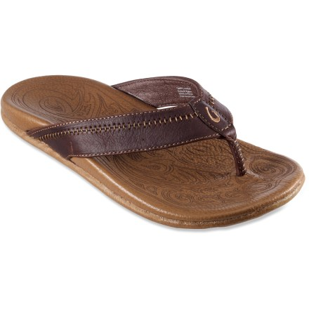 Entertainment Rich leather abounds in these OluKai Hiapo flip-flops to bring you distinctive styling and superior comfort. - $110.00