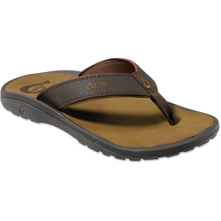 Entertainment Heading up the family of wonderfully comfortable flip-flops, the classic OluKai 'Ohana features rich synthetic leather, simple everyday style and superior comfort. - $65.00
