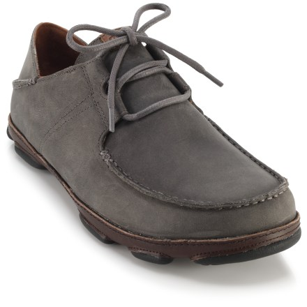 Lace-up or convenient slip-on? The casual OluKai 'Ohana Lace-Up nubuck shoes prevent you from having to choose, with versatile heelstays that flip up or down to suit your preference. - $31.83