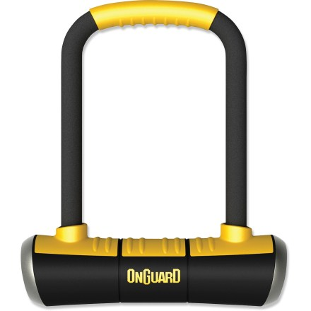 Fitness OnGuard PitBull Medium U-Lock features a medium-length shackle and a mini-size crossbar to make it easy to reach locking points without having to deal with a bulky, wide lock shackle. Burly 14mm (0.55 in.) hardened steel shackle resists cutting, prying and jacking; rubber-coated shackle and crossbar help protect your bike's finish. X4P Quattro locking mechanism secures the shackle to the crossbar in 4 places, maximizing strength to resist pulling, jacking, prying and twisting. Z-Cylinder tumbler is bump-proof and resists picking, pulling or drilling. Rounded design and centered keyhole eliminate pry points; all-metal end caps protect against drops and hits while the auto-closing keyhole cover protects lock internals. Comes with 5 laser-cut keys, 1 of which has an integrated LED light; mounting bracket Included. OnGuard rates the PitBull Medium U-lock as an 80 out of 100 on their 100-point security rating system, where higher-rated locks offer increased security. - $52.95