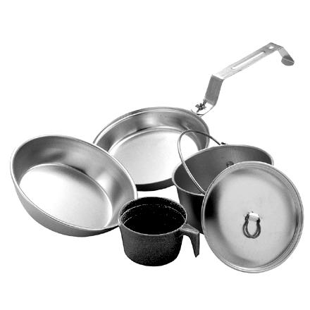 Camp and Hike This lightweight nesting aluminum cookset is ideal for solitary backpackers or kids' camp-outs. - $24.95