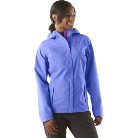 The Orage Justine rain shell for women offers waterproof, breathable protection from light rain and snow; great for short trail hikes and for transitions between shelter and transportation in town. Polyurethane-coated nylon and taped seams protect you from the elements; low-profile storm flap covers front zipper. Toggled drawcords on hood and hem, and elastic on underside of cuffs keep out wind and rain. 2 small hand pockets. Closeout. - $60.83