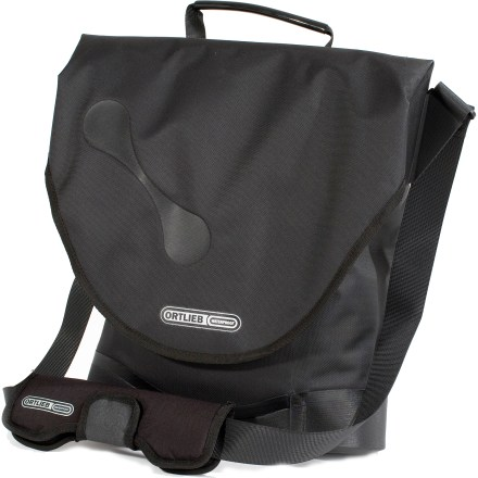 Fitness The Ortlieb City Biker QL3 single pannier is a shoulder bag, too! On the bike or on the shoulder, the City Biker QL3 always looks good on a tour through town. Vertical-style shoulder bag with rip-and-stick flap closure ensures protection of files and laptops up to 13.3 in.; base and corners are reinforced for extra durability. Padded shoulder strap ensures a comfortable carry; during the ride, it stows securely on the underside of the flap closure. Quick-Lock3 hook rail allows quick and single-handed placement and removal of the pannier from bike rack (sold separately); all QL3 mounting elements included. Made of tough, long lasting waterproof nylon fabric, with abrasion-resistant reinforcement on rear side. Includes an interior zip pocket, pen slots and key clip. Ortlieb City Biker QL3 single pannier features a carrying handle. Protects against water spray (maximum 60deg to vertical) and mild dust protection. Please note: shoulder strap must be fixed under flap prior to biking. - $107.93