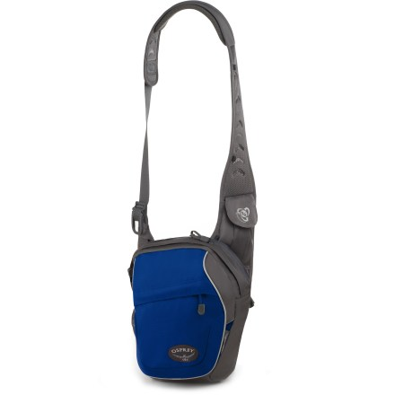 Entertainment The stylish and functional Osprey Veer shoulder bag sets you up for treks around town and trips to work. Built almost entirely from recycled material, the bag features recycled PET fabric, recycled webbing, recycled mesh and recycled buckles. Post-consumer recycled PET polyester is tough enough to endure the daily grind. Main compartment holds books, lunch, an extra layer and other daily essentials. Concealed organizer panel and zippered slash pocket provide secure storage for small extras. Mesh pocket keeps a water bottle close by. Mesh back panel with open slash pocket stows a newspaper or magazine. Pocket on shoulder strap conveniently stows a cell phone or digital music player within reach. Adjustable waistbelt can be removed and tucked away when not in use. - $39.93