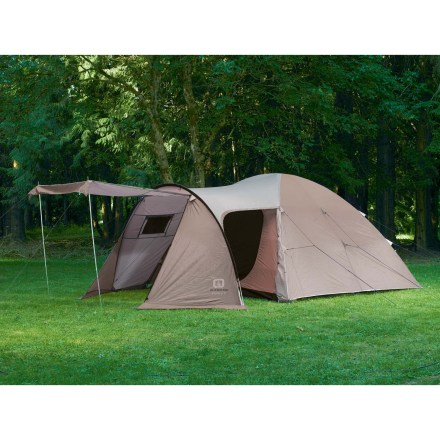 Camp and Hike The Outbound Explorer 6 family tent is perfect for summertime camping adventures. Explorer 6 offers a dome tent and large front vestibule with canopy; vestibule door can be transformed into an awning with expandable poles, sold separately. Polyurethane-coated fly features fully taped seams for exceptional weather protection. Heavy-duty nylon oxford floors stand up to wear and tear. No-see-um mesh panels allow cross-ventilation, preventing condensation. Setup is speedy on this tent: ring and pin attachments and polyester pole sleeves make setup a breeze. High-quality fiberglass poles offer excellent performance at a lower cost than aluminum. Includes stakes, guylines and storage sacks. Special buy. - $142.83