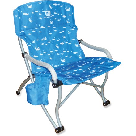 Camp and Hike The Outbound Streamline Chair gives them a kid-size chair that's perfect for sitting around the campfire. Durable polyester fabric features a fun print; 19mm powder-coated steel frame for durability. Padded armrests for comfort. Includes a hanging bottle holder to keep their juice close. Includes a storage sack. Closeout. - $19.73