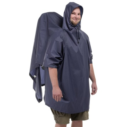 The great backpacker's standby, this Outdoor Products Packframe poncho is easy to pull out of your pack and throw on for quick weather protection for you and your backpack. - $35.00