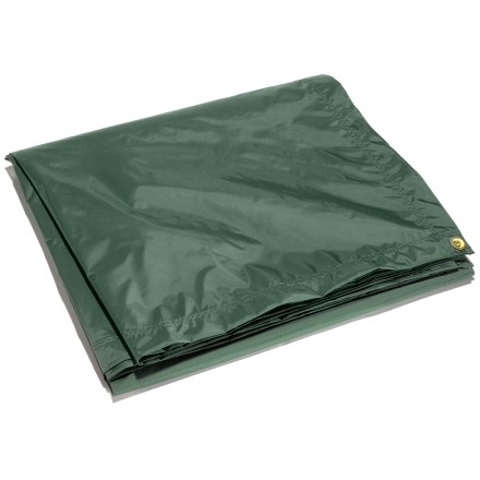 Camp and Hike This coated tarp from Outdoor Products can be used as a tent fly, an emergency shelter and for general use around camp or home. Made from water-resistant urethane-coated nylon; aluminum grommets at the corners provide attachment points for securing it down. - $57.00
