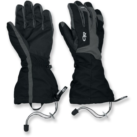 The modular Outdoor Research Arete gloves let you choose between various combinations of dexterity, warmth and waterproof protection to keep you comfortable on backcountry adventures. Polyester fleece liner gloves let you remove the outer shells for improved dexterity without exposing your hands to cold air; liner gloves have silicone grip palms. Waterproof, breathable Gore-Tex(R) inserts in the shell gloves keep your hands dependably dry and comfortable. X-Trafit(TM) layered construction joins the outer fabric, Gore-Tex(R) membrane and the inner lining together to create a close fit with high tactility. Grippy palms on the outer shells stand up to tough work in the mountains. Polyester fleece insultaes the backs of the hands. Gauntlet closures tighten up quickly and easily with a simple tug. Outdoor Research Arete gloves include removable wrist cords that secure the gloves to your wrists. Average weight per pair, size Large, is 7.1 oz. - $89.00