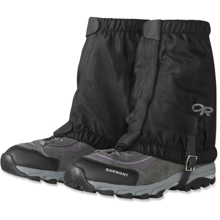 Ski The lightweight, breathable Outdoor Research Rocky Mountain Low gaiters are ideal for fast packing through talus, sand, wet brush and light snow. Snug-fitting elastic top and bottom edges keep dirt, twigs, scree and snow out of light-to-midweight hiking and cross-country ski boots. Breathable uncoated packcloth provides lightweight durability; Durable Water Resistant treatment resists rain and snow. Easy-access, 1 in.-wide rip-and-stick closure opens in front for quick on/off; rip-and-stick tabs at the top and bottom create a secure closure that won't open while in use. Finished with a double-riveted bootlace hook and a Hypalon(R) instep strap. Average weight per pair is 4.3 oz. - $33.00
