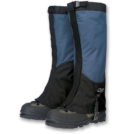 "Cover ground quickly in the backcountry or blast through a bushwhack approach with the Outdoor Research Verglas gaiters. They are designed to move fast and carry light. Ultralight, waterproof and breathable 3-layer Ventia(TM) section extends down outside of leg for maximum breathability. Low-profile leg shape reduces snagging. Rugged unlined 500-denier Cordura(R) nylon foot section resists snow and rain while offering excellent durability where you need it most. Cordura rises higher on inside of ankles for best protection. Shaped leg tapers slightly at ankles for a sleek fit. Easy-access hook and loop closures open in front for quick on/off plus they can be micro-adjusted for a custom fit. Asymmetrically shaped bottom edge is curved to fit boots evenly with no gaps, keeping dirt, twigs, scree and snow out of boots. Secure strap and buckle top closures keep gaiters from slipping down legs. Low-profile cam buckle and 3/4"" wide nylon webbing distributes pressure and won't cut into leg. Double riveted boot lace hooks grab laces, helping keep gaiters in place. Nylon-supported rubber instep straps offer excellent durability and easy adjustment; loops above buckles keep strap end from flapping. Average weight: 7.4 ounces per pair. - $54.00"