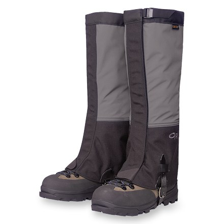 Camp and Hike The Outdoor Research Crocodile(R) gaiters keep snow out of your boots while climbing mountains, cross-country skiing or hiking over snow fields. Gore-Tex(R)/Taslan(R) nylon uppers are waterproof and breathable; durable lower panels of coated Cordura(R) nylon are lined with packcloth. Changing the amount of overlap on the 2-inch wide rip-and-stick closure adjusts the bottom circumference, allowing a fit over different boots. Top closes with an adjustable 0.75-in. wide nylon webbing strap and a low-profile cam buckle. Tapered at the ankle, reducing crampon-catching fabric; asymmetric bottom edge provides a sleek, snug fit around the boot. Rugged, urethane-coated nylon instep strap with buckle secures the fit; instep strap is replaceable. Use the double-riveted boot lace hook to keep the Outdoor Research Crocodile gaiters from shifting. - $75.00
