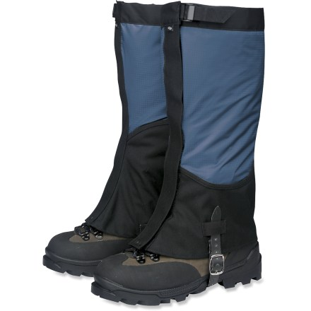 Cover ground quickly in the backcountry or blast through a bushwhack approach with the Outdoor Research Verglas gaiters for women. They are designed to move fast and carry light. Ultralight, waterproof and breathable 3-layer Ventia(TM)/nylon ripstop upper section extends down outside of leg for maximum breathability. Rugged 500-denier Cordura(R) nylon lower section resists snow and rain while offering excellent durability where you need it most. Cordura nylon section rises higher on inside of ankle for best protection. Low-profile leg shape reduces snagging; tapers slightly at ankles for a sleek fit. Asymmetrically shaped bottom edge is curved to fit boots evenly with no gaps, keeping dirt, twigs, scree and snow out of boots. Easy-access VELCRO(R) brand closures open in front for quick on/off plus they can be micro-adjusted for a custom fit. Tops feature comfortable 3/4-inch nylon webbing straps with low-profile cam buckles to keep gaiters from slipping down legs. Double riveted boot lace hooks grab laces, helping keep gaiters in place. Nylon-supported rubber instep straps offer excellent durability and easy adjustment; loops above buckles keep strap end from flapping. - $54.00