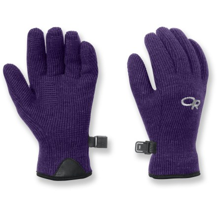 Camp and Hike The Outdoor Research Flurry gloves are great for fall hiking. They will help keep your child's fingers warm while allowing excellent dexterity for gripping. Alpin-wool(TM) Plus construction offers the natural warmth of wool blended with nylon for added durability. Soft fleece lining wicks away moisture and enhances warmth. MotionWrap(TM) palm construction minimizes seams to reduce bulk and increase comfort. Silicone finger tabs enhance grip in dry and wet conditions. - $15.93