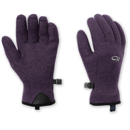 Camp and Hike Great for fall hiking, Outdoor Research Flurry gloves keep your child's fingers warm while allowing excellent dexterity for gripping. Alpin-wool(TM) Plus construction offers the natural warmth of wool blended with nylon for added durability. Soft fleece lining wicks away moisture and enhances warmth. MotionWrap(TM) palm construction minimizes seams to reduce bulk and increase comfort. Silicone finger tabs enhance grip in dry and wet conditions. - $10.83