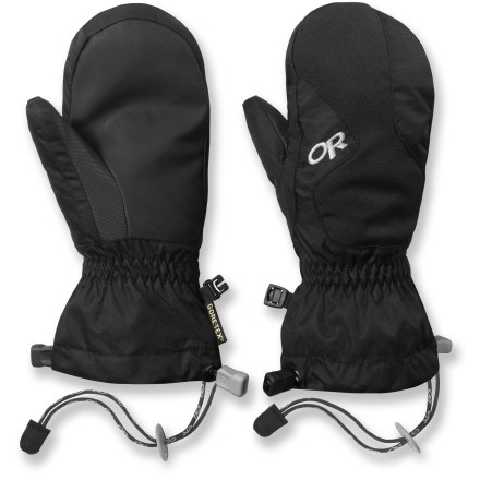 Ski Give them the gift of warm fingers while playing in the snow! Outdoor Research Gravitator mittens keep snowmelt out and the heat in. Nylon shells resist abrasion and are built to last; 200g EnduraLoft(TM) insulation and soft fleece lining offer dependable warmth. Waterproof, breathable, windproof Gore-Tex(R) inserts provide an excellent defense against heat-robbing moisture and wind chill. Durable AlpenGrip(R) polyurethane palms easily grip sleds and ski poles even when the temperature drops. Soft nose wipe on the back of the thumbs catches drips. DuoCinch(TM) gauntlet closures with elasticized wrists keep the mittens in place and seal out debris. Adjustable cords keep mittens attached to sleeves when the gloves are removed. Tags for name and phone number are located inside the wrists. - $33.93