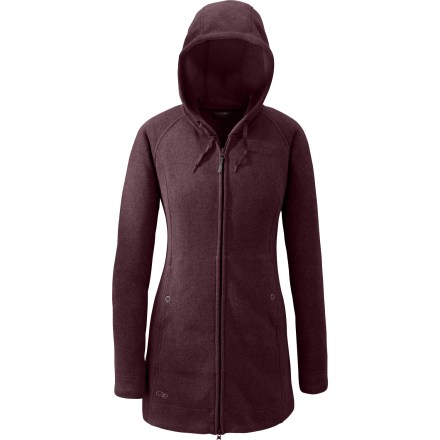 With a hood and long length, the Outdoor Research Longitude Hoodie jacket brings ultimate warmth to casual outdoor excursions. Sweater-knit heathered fleece holds in warmth, breathes well, wicks moisture and continues to insulate when damp. Oversize hood has a drawcord adjustment. Internal draft flap backs 2-way front zipper; wraparound chin guard protects delicate skin. Flatlock seams maximize motion and minimize abrasion. Outdoor Research Longitude jacket has snap-close handwarmer pockets. - $93.93