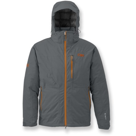 Ski Warm enough for the lift ride up, the Stormbound insulated jacket from Outdoor Research provides body-heat regulation, waterproof protection and a relaxed fit for storming back down the mountain. Breathable, 2-layer Pertex(R) Shield lightweight polyester/nylon fabric makes it a go-to for almost any adventure; it's built to seal out rain, snow, sleet and wind. Fully taped seams prevent water from penetrating through seams. Hood and body are insulated with quality 650-fill-power goose down for warmth, light weight and compressibility. Below the powder skirt and in the collar, low-bulk synthetic Thermore(R) 60g insulation keeps the warmth in and the cold out. Fully adjustable, helmet-compatible, removable hood protects you in inclement weather. Features a zip-out balaclava with a tuck-away pocket for next-to-skin warmth. Removable powder skirt keeps out cold air and snow; rip-and-stick cuff closures help to keep cold out and warmth in. Zippered handwarmer pockets and a zippered chest pocket with media/headphones port; interior lift pass pocket with key clip. Pit zips allows temperature regulation. Embedded RECCO(R) reflector enhances radio signals from search-and-rescue RECCO detectors to speed location acquisition in an avalanche. - $229.83