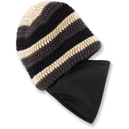 Entertainment Be ready for whatever winter throws at you with the Outdoor Research Tempest(TM) Facemask beanie. Merino wool/acrylic hat is lined with soft microfleece for great warmth and comfort. Deploy the tuck-away fleece facemask when the winter wind nips at your nose and cheeks. - $36.00